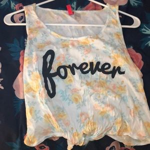 'forever' floral cropped H&M shirt w/ tie